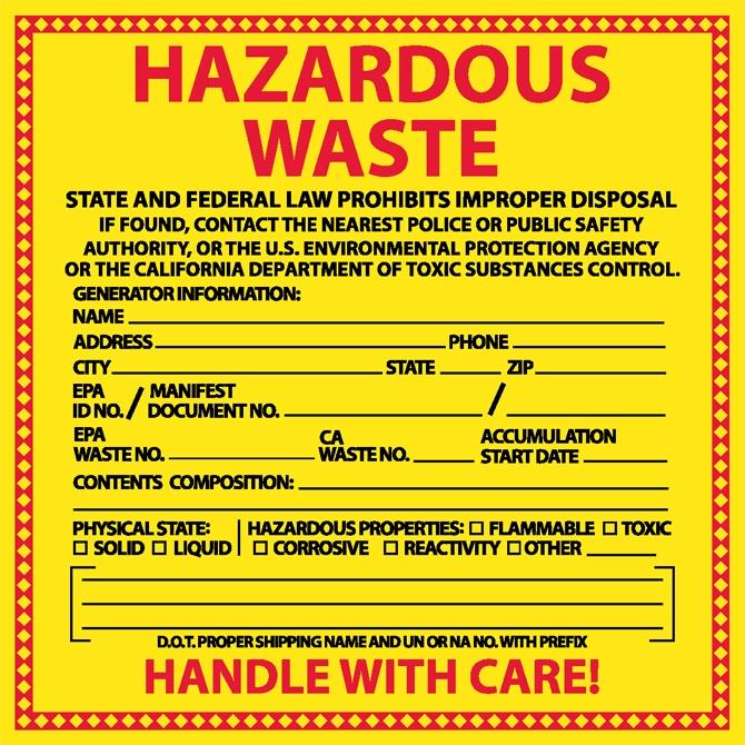 6 - Hazardous Waste Labels