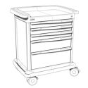 5 DRAWERS MED SUPPLY CART